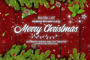 2 in 1 Mockup and Scene Generator Merry Christmas