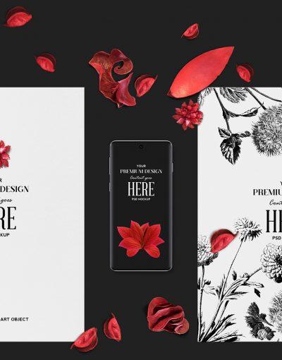 Vivid Red Floral Elements Mockup