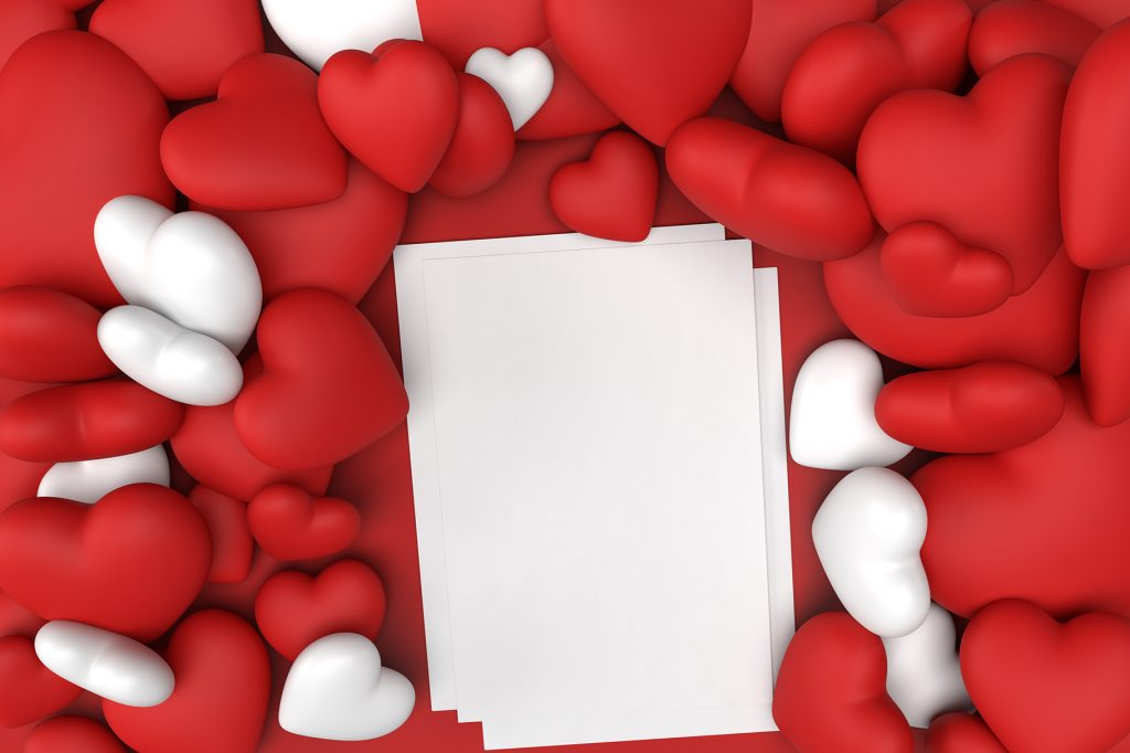 Red and White Hearts photo for mockup Valentines Day and a White A4 Blank Paper Photo