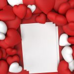 Red and White Hearts for Valentines Day and a White A4 Blank Paper Photo