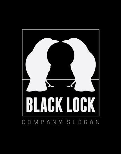 Black Lock Logo template prmo black negative space