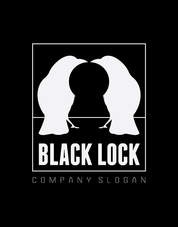 Black Lock Logo template prmo black negative space