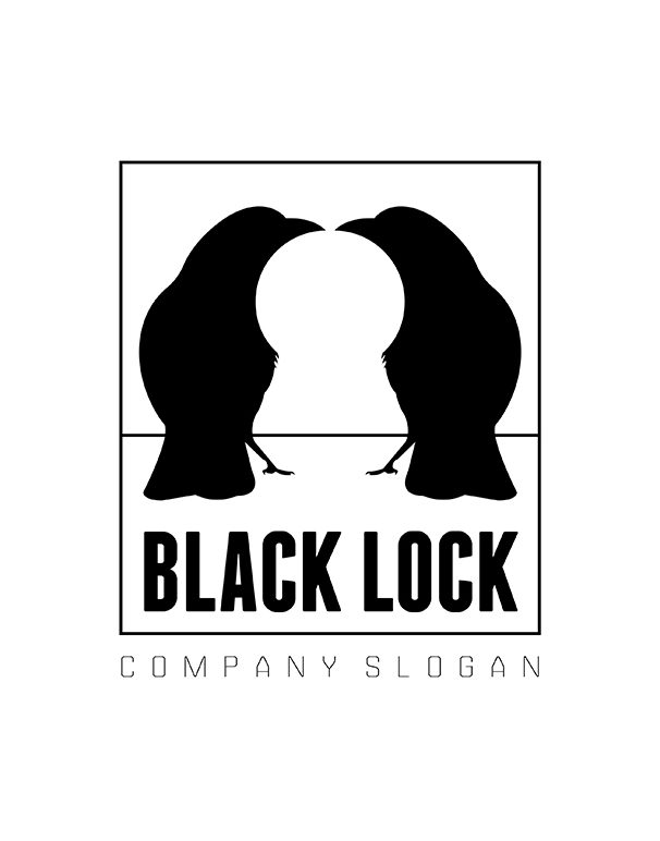 Black Lock Logo template prmo white negative space