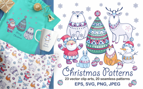 Christmas patterns and clip arts by-Olga-Belova-580x361