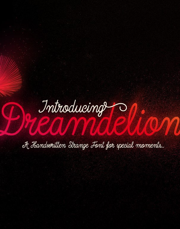 dreamdelion font script hand written and vintage stylish and childish with ligatures and swashes - looks like neon