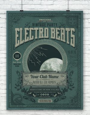 Electro Vintage Beats Poster Template_1160