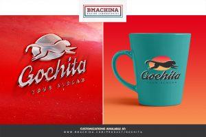go chita logo fast animal preview template couple tea coffe mugs logo mockup