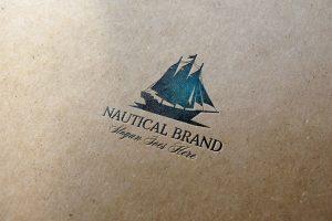Nautical Brand Letterpress Logo MockUp #1