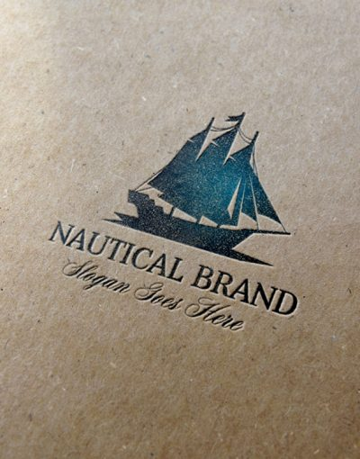 Nautical Brand Letterpress Logo MockUp #1