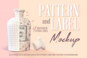 Pattern & Label Perfume Bottle Mockup