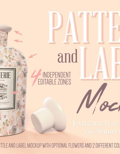 Pattern & Label Perfume Bottle Mockup