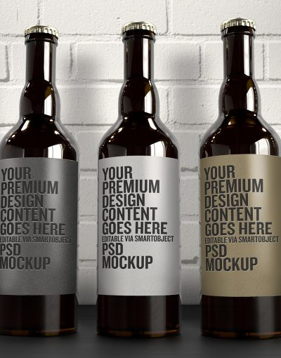 The 3 Beer Bottles Mockup