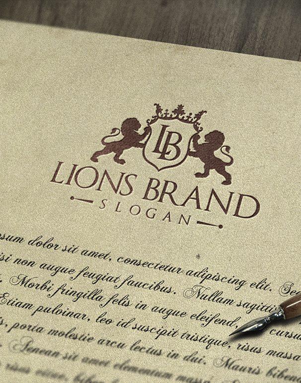 Lions Brand Vintage Grunge Logo MockUp #1