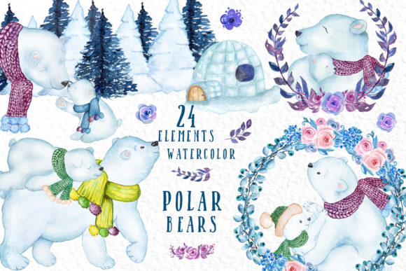 Watercolor Winter Animals by vivastarkids