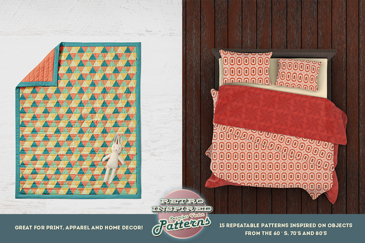 15 Retro Inspired Seamless Vector Patterns 1