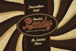 Dreamdelion hand drawn script font chocolate