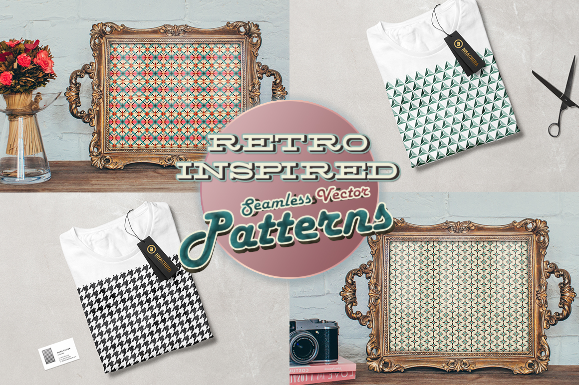 15 Retro Inspired Seamless Vector Patterns creative market