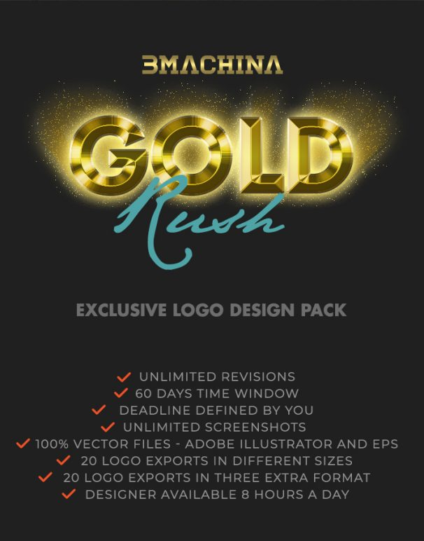 gold rush briefing exclusive logo design pack by bmachina