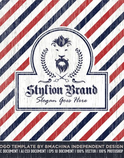 stylion brand logo barber barbershop mockup and textures main professional preview