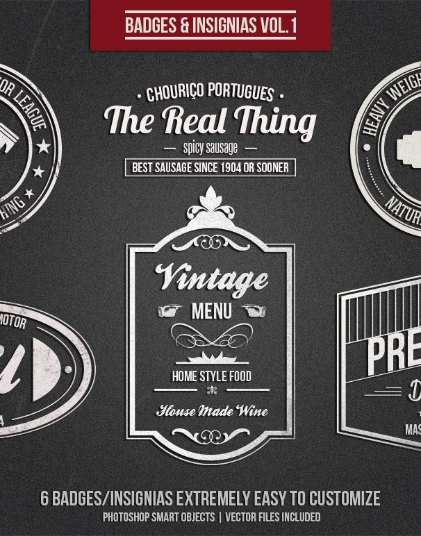 Badges and Insignias Vol.1 menus drinks food and stuff